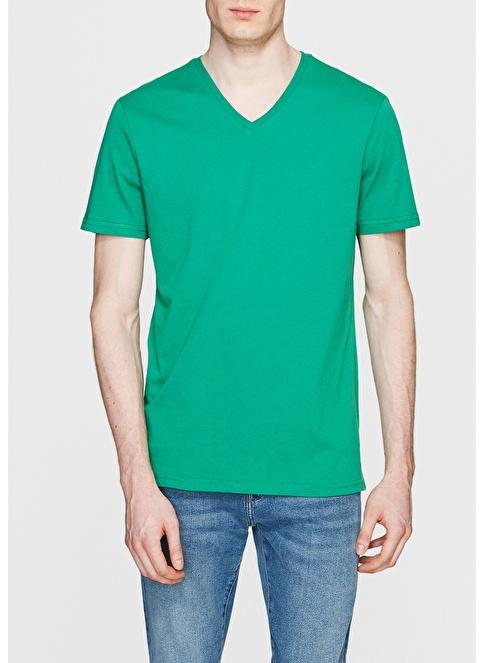 Mavi V Yaka Tişört Yeşil